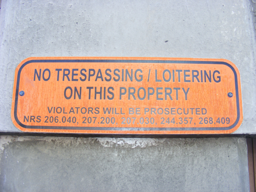 Clark County Inmate Search - No Trespassing or Loitering